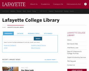 A screenshot of the Library homepage.