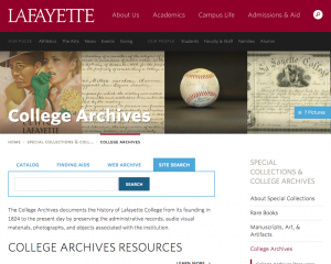 A screenshot of the College Archives page within Special Collections.